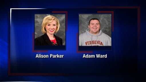 This undated photo provided by WDBJ-TV, in Roanoke, Va., shows station reporter Alison Parker, left, and cameraman Adam Ward. Ward and Parker were fatally shot on-air Wednesday, Aug. 26, 2015, by a former staffer in Moneta, Va.