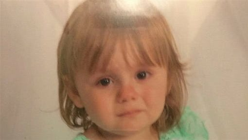 This undated photo provided by the Ohio Attorney General's office on Sunday, Oct. 4, 2015 shows Rainn Peterson. The toddler who disappeared Friday night, Oct. 2, 2015, from her great-grandparents' house in North Bloomfield, Ohio, was found alive in a nearby field on Sunday evening.