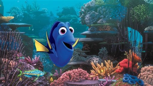 """This image released by Disney shows the character Dory, voiced by Ellen DeGeneres, in a scene from """"Finding Dory."""" (Pixar/Disney via AP)"""