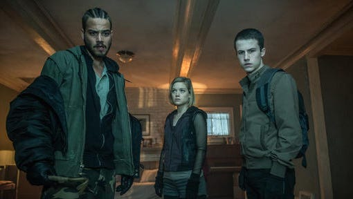 """This image released by Sony Pictures shows, from left, Daniel Zovatto, Jane Levy and Dylan Minnette in a scene from """"Dont Breathe."""""""