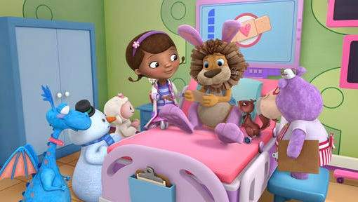 """This image released by Disney Junior shows characters, from left, Stuffy, Chilly, Lamby, Doc, Stanley and Hallie in a scene from """"Doc McStuffins."""" The Disney Junior channel said Wednesday, Nov. 16, it's ordered a fifth season of the Peabody Award-winning animated series."""