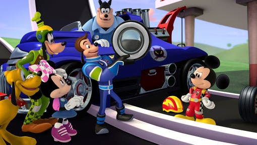 """This image released by Disney Junior, characters, from left, Pluto, Goofy, Minnie Mouse, Jiminy Johnson, Pete the Cat and Mickey Mouse appear in a scene from """"Mickey and the Roadster Racers,"""" a madcap car-racing adventure series for preschoolers  making its television debut on Sunday, Jan. 15 at 9 a.m. EST."""
