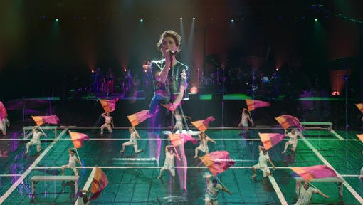 """This image released by Oscilloscope shows a scene from """"Contemporary Color,"""" a documentary about the art of Color Guard, by Bill and Turner Ross."""