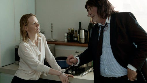 """This image released by Sony Pictures Classics shows Sandra Huller as Ines, left, and and Peter Simonischek as Winfried in a scene from the Komplizen Film, """"Toni Erdmann."""" The film is nominated for an Oscar for best foreign language film. The 89th Academy Awards will take place on Feb. 26, 2017."""