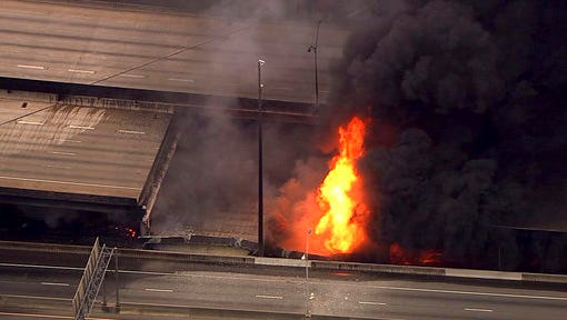In this aerial image made from a video provided by WSB-TV, a large fire that caused an overpass on Interstate 85 to collapse burns in Atlanta, Thursday, March 30, 2017. Witnesses say troopers were telling cars to turn around on the bridge because they were concerned about its integrity. Minutes later, the bridge collapsed. (WSB-TV via AP)