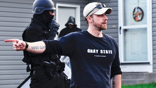 """This image released by the Tribeca Film Festival shows director David Crowley on the set of """"Gray State,"""" a film that will be shown at the Tribeca Film Festival."""