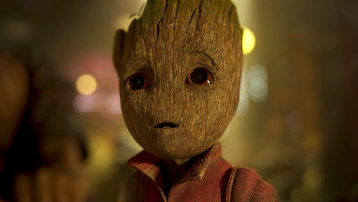 """This image released by Disney-Marvel shows the character Groot, voiced by Vin Diesel,  in a scene from, """"Guardians Of The Galaxy Vol. 2."""""""
