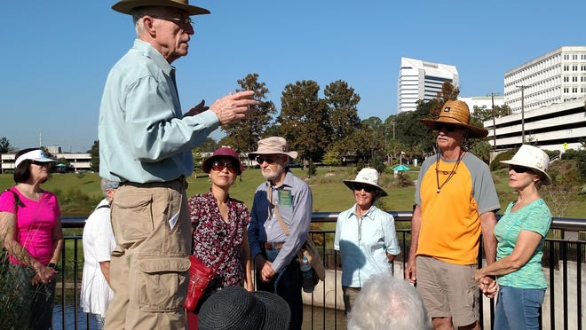 """Jim Stevenson, former chief biologist, led attendees on an underground journey of """"blue gold"""" during Saving Wakulla Springs Overland Tour."""