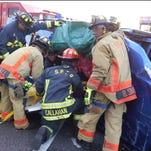 Mini van involved in the car crash