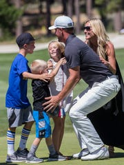 Mark Mulder celebrates with his family after winning the American Century Championship for the third year in a row at Edgewood Tahoe Golf Course in Stateline on Sunday