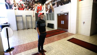 Nico Hischier gets a look at the inside of the Prudential Center on Monday.