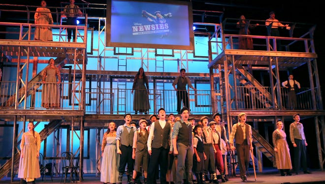 Cast members of Disney's Newsies perform during a rehearsal at the Renaissance Theatre on Tuesday night.
