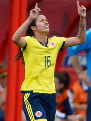 Colombia's Lady Andrade celebrates her goal against France.