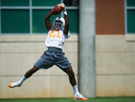 Wide receiver Jacquez Jones catches a pass at the first
