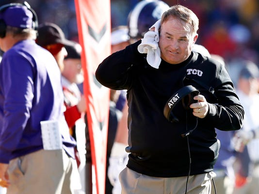 FILE - In this Saturday, Oct. 28, 2017, file photo TCU head coach Gary Patterson walks on the sideline during the first half of an NCAA college football game against Iowa State in Ames, Iowa. Patterson doesn't recall ever before having to prepare to play a team averaging more than 600 yards a game. Well, he is now for a matchup of the Big 12 co-leaders with likely playoff implications. (AP Photo/Charlie Neibergall, File)