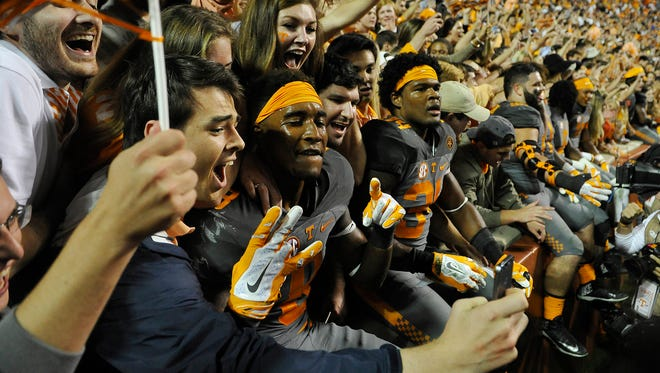 Tennessee wide receiver Von Pearson (9) celebrates with the crowd after UT beat Georgia 38-31 on Oct. 10, 2015.