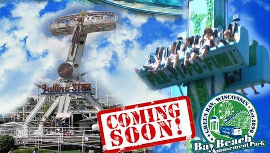This city promotional announcement shows the three new rides: the Rockin' Tug (upper left), Tot Jumping Spring (right) and Falling Star (bottom left).