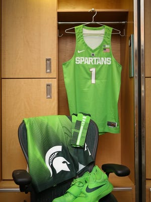 "Michigan State's ""Mean Green"" uniforms for Saturday's game vs. Maryland."