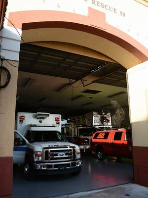 A Collier County EMS ambulance sits inside Marco Island's Station 50. The City of Marco Island is exploring the possibility of seeking its own ambulance service.