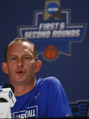 Florida Gulf Coast head coach Joe Dooley fields questions during a press conference Wednesday, March 16, 2016 at PNC Arena in Raleigh, N.C. The Florida Gulf Coast men's basketball team practiced and met with media for Thursday's opening round of the NCAA Tournament matchup with North Carolina. (Corey Perrine/Staff)
