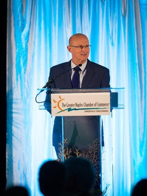 Michael Dalby, CEO & President of the Greater Naples Chamber of Commerce, speaks at the 2016 Greater Naples Chamber of Commerce Annual Dinner on Thursday, May 19, 2016, at the Ritz-Carlton Golf Resort, Naples in North Naples.