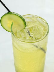 Hendrick's gin muddled with cucumber with lime juice, shaken, and topped with Prosecco.
