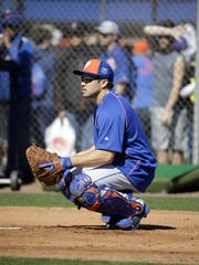 New York Mets catcher Travis d'Arnaud is rehabbing with the St. Lucie Mets.