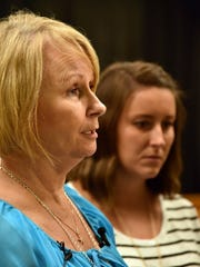 Tina Gregg, left, mother of Brooke Nicole Morris, talks with the media in Roane County on Aug. 4, 2016, after a jury gave Shawn Smoot a sentence of life without parole in the killing of Morris.