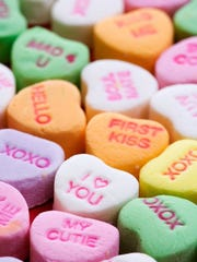 Candy hearts with various sentiments