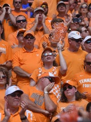 Tennessee fans cheers on their team during the game against Ohio on Saturday, September 17, 2016