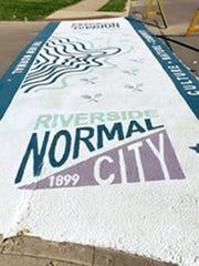 Artistic crosswalk in Riverside Normal City.