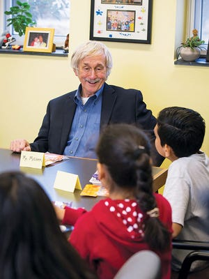 Bill Milliken speaks to students at Barcroft Elementary School in Arlington, Va. He will be speaking at the end of the month in York.