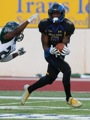 Angelo State University senior wide receiver Donovan Thompson snagged a school-record 13 passes and finished with 170 yards receiving in Saturday's loss at Texas A&M-Commerce.