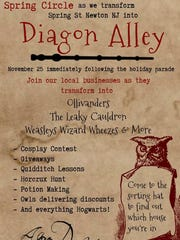 Spring Street in  Newton will transform into 'Harry Potter's' Diagon Alley on Nov. 25.