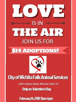 City of Wichita Falls Animal Services will be having a Valentines Day special $14 adoption fee for a dog or cat Feb. 14.