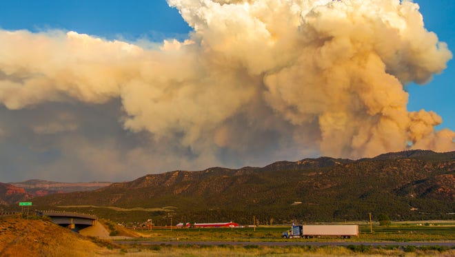 The Brian Head fire is seen from the town of Parowan on Tuesday, June 20, 2017.