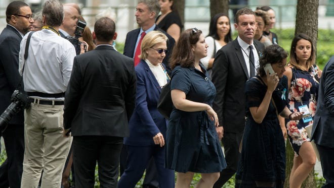 Hillary Clinton attends a ceremony for the 15th anniversary of the 9/11 attacks in New York on Sept. 11, 2016.