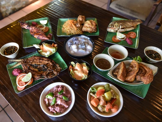 Lechon kawali, pork binagoongan, bilo bilo, fried chicken and seafood, and other authentic Filipino dishes shown are a small sampling of choices available at Nayon Express in Harmon, on Feb. 9.  Lunch plates begin at $5.95 for a one-choice meal that includes free soup.