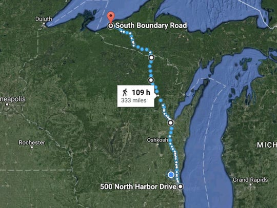 The tentative route for Walk To Sustain Our Great Lakes