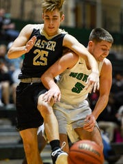Jasper's Reece Milligan (25) and North's Ryan Huebner (5) lose the ball under the basket as the Evansville North High Huskies play the Jasper Wildcats at North High Saturday, December 30, 2017.