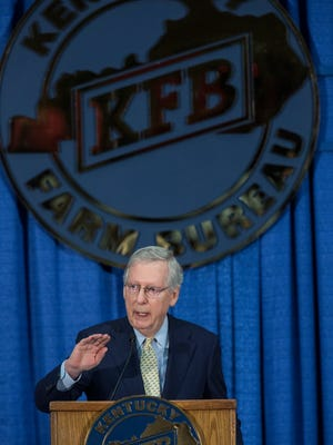 Senator Mitch McConnell spoke during the Kentucky Ham Breakfast at the fairgrounds. Aug. 24, 2017.