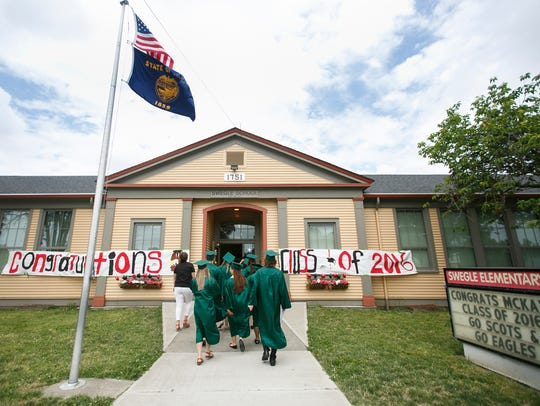 Graduating seniors from McKay High School visit Swegle
