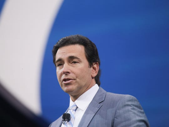 Ford CEO Mark Fields speaks during the Ford unveiling for the 2017 North American International Auto Show held at the Joe Louis Arena in Detroit on Monday, Jan. 9, 2017.