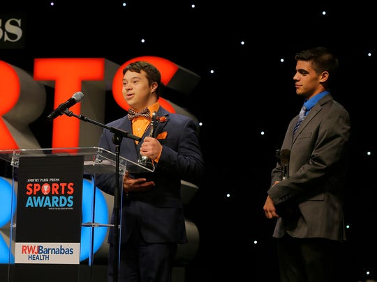 David Richards of Brick Memorial Wrestling and Richie Wall of Middletown North Wrestling accept Courage Awards during the Asbury Park Press Sports Awards at the Count Basie Theatre in Red Bank, NJ Wednesday, June 14, 2017.  #APPSportsAwards