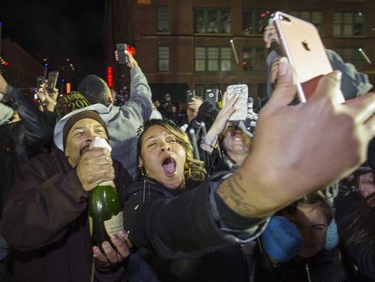 New Year's Eve revelers, Georgia Street, Dec. 31, 2016.