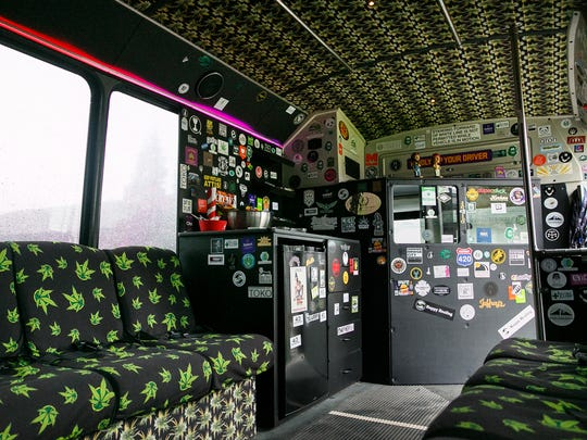 The Potlandia Experience bus, a renovated airport shuttle, can seat up to 14 people. The driver's seat of the bus is partitioned from the main cabin, where customers can smoke as it rolls through Portland on a tour of local marijuana stores, a brewery and food carts.