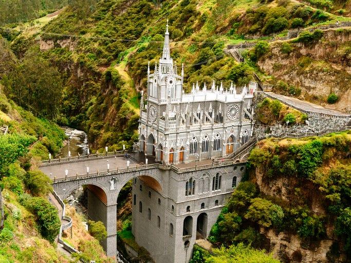 The neo-Gothic Las Laras Sanctuary sits perched                                                          on a bridge                                                          spa