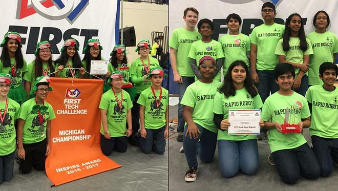 FTC 6134 Black Frog and FTC 10477 Rapid Robots competed over the weekend in the FIRST Tech Challenge North Super-Regional Championship at US Cellular Center in Cedar Rapids, Iowa.