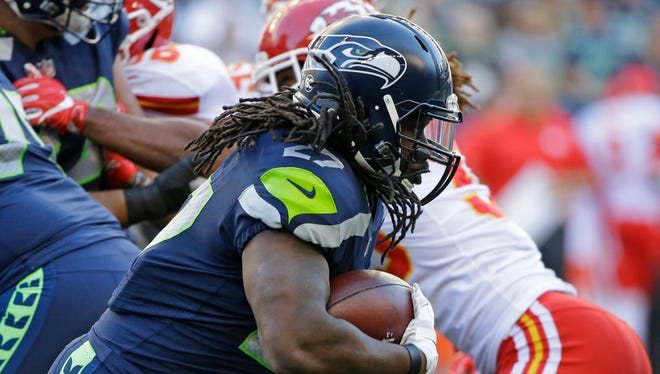 Seattle Seahawks running back Eddie Lacy rushes against the Kansas City Chiefs during the first half Friday, Aug. 25, 2017, in Seattle.