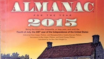"""The 2015 edition of the Farmers' Almanac is seen in Lewiston, Maine, Sunday, Aug. 24, 2014. The 198-year-old publication correctly predicted the past nasty winter while federal forecasters blew it. Memories of the notorious """"polar vortex"""" won't soon be forgotten, and the publication is predicting more of the same for the coming winter. (AP Photo/Robert F. Bukaty)"""